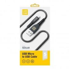 Кабель Luxe Cube Kevlar USB-MicroUSB 1.2m Black (8886668686242)