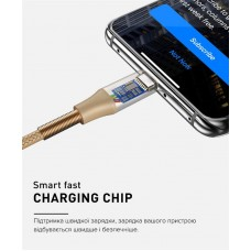 Кабель Luxe Cube Armored USB-MicroUSB 1m Gold (8886669689204)