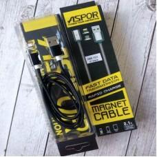 Кабель USB-Lightning Aspor AM-101 Magnetic 2.1A 1m Black (910068)