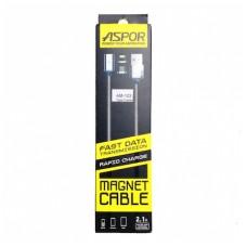 Кабель USB-Type-C Aspor AM-103 Magnetic 2.1A 1.2m Black (910095)