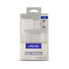 СЗУ Aspor A801 1USB 1A + cable USB-Lightning White (925001)