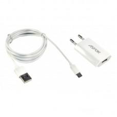 Зарядное устройство сетевое Aspor A821С 1USB 1A + cable USB-MicroUSB White (925013