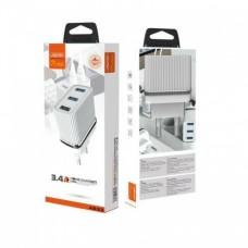 Зарядное устройство сетевое Aspor A833 3USB 3.4A + cable USB-Type-C White (925056)