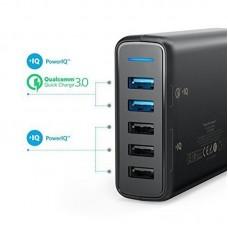 Адаптер сетевой Anker PowerPort 5USB 3A QC3.0 PowerIQ V3 Black (A2054L11)