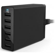 Адаптер сетевой Anker PowerPort 6 6USB 2A 60W V3 Black (A2123L12)