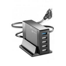 Зарядное устройство сетевое Cellularline 5USB QC 3.0 с подставкой Black (ACHUSB5QUAL9AK)