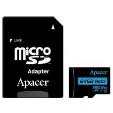 Карта памяти MicroSDXC 64GB UHS-I U3 Class 10 Apacer + Adapter SD (AP64GMCSX10U7-R)