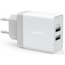 Адаптер сетевой Anker PowerPort 2USB 2.4A White (B2021L21)
