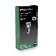 Адаптер автомобильный Cellularline 1USB QC3.0 Black (CBRHUUSBQCK)