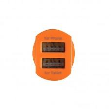 Адаптер автомобильный Cord Nova 2USB 2.1A Silver/Orange (CC-1U021O)