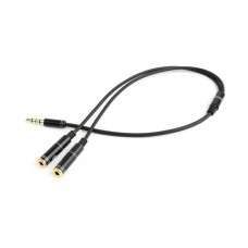 Кабель Audio 3.5мм-3.5мм stereo микрофон Cablexpert 0.2m Black