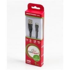 Кабель USB-MicroUSB Cablexpert Premium плоский 1m Black