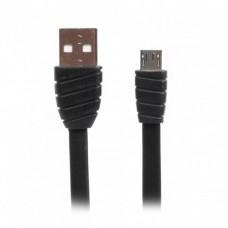 Кабель USB-MicroUSB премиум плоский Cablexpert 2.4A 1m Black (CCPB-M-USB-02BK)