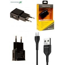 Зарядное устройство сетевое Grand-X 1USB 2.1A Black (CH-03T) + cable USB-Type-C