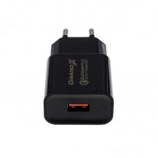 Зарядное устройство сетевое Grand-X Charge QС3.0 Black (CH-350TC) + cable USB-Type-C
