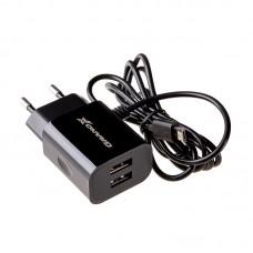 Зарядное устройство сетевое Grand-X 2USB 2.1A Black CH-35B + cable USB-MicroUSB