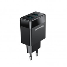 СЗУ Grand-X 2USB 2.4А Black (CH-50U) + cable USB-MicroUSB
