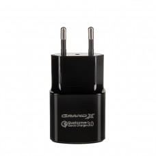 Зарядное устройство сетевое Grand-X 1USB 3.6В-12В/1.5А-3А Black CH-550BM + cable USB-MicroUSB