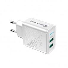 Адаптер сетевой Grand-X 2USB 3.1А White (CH-60W)