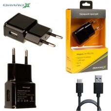 Зарядное устройство сетевое Grand-X 1USB 1A Black (CH-765T) + cable USB-Type-C