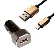 Зарядное устройство автомобильное Grand-X QC 1USB 3А + cable USB-MicroUSB Black