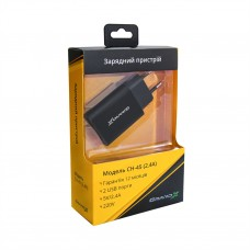 Зарядное устройство сетевое Grand-X 2USB 2.4A Black (CH45LTB) + cable USB-Lightning