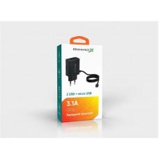 СЗУ Grand-X 2USB 3.1А Black (CH65LT) + cable USB-Type-C-MicroUSB-Lightning