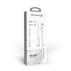 Кабель Grand-X USB Type-C-Lightning PD 20W 1m White (CL-07)