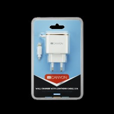 СЗУ Canyon 1USB 2.1A White/Silver (CNE-CHA043WS) + cable USB-Lightning