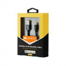 Кабель USB-Lightning Canyon 1m в оплетке Black (CNS-MFIC3B)