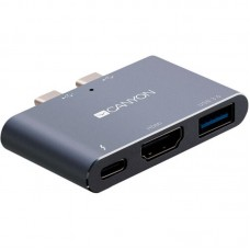 USB HUB 3 в 1 Canyon Type-C-HDMI-Thunderbolt 1USB Grey (CNS-TDS01DG)