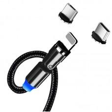 Кабель ColorWay 3 в 1 USB-Lightning-MicroUSB-Type-C Magnetic Rotation 540° 2.4А 1m Black (CW-CBUU037