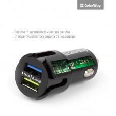 Адаптер автомобильный ColorWay 2USB 2.4A Black
