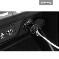 Адаптер автомобильный ColorWay 2USB 2.4A QC 3.0 Black