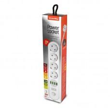 Сетевой фильтр ColorWay CW-CHE44W 4 розетки 4USB 2m 10A White