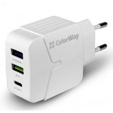 Зарядное устройство сетевое ColorWay 2USB 1USB Type-C 3.4A White CW-CHS005-WT