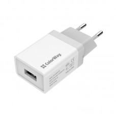 Адаптер сетевой ColorWay 1USB 1A White (CW-CHS011-WT)