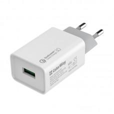 Адаптер сетевой ColorWay QC3.0 1USB 3A White (CW-CHS013Q-WT)