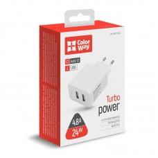 Адаптер сетевой ColorWay AutoID 2USB 2.4A White (CW-CHS016-WT)