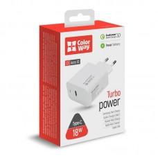 Адаптер сетевой ColorWay Power Delivery Port Type-C 3A White (CW-CHS022PD-WT)