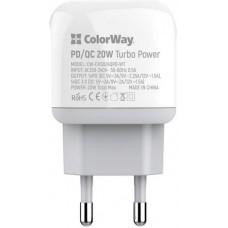 Адаптер сетевой ColorWay Type-C PD 20W 1USB QC3.0 White (CW-CHS024QPD-WT)