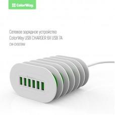 Зарядное устройство сетевое ColorWay 6USB 7A White CW-CHS07AW