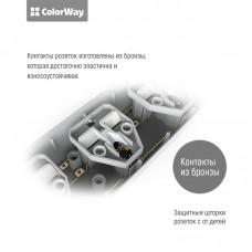 Сетевой фильтр ColorWay 3 розетки 3USB 1.8m 10A Black