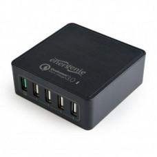 Адаптер сетевой EnerGenie 4USB 3A QC3.0 Black (EG-UQC3-02)