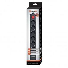 Сетевой фильтр REAL-EL RS-6 PROTECT 6 розеток 2USB 1.8m 16A Black