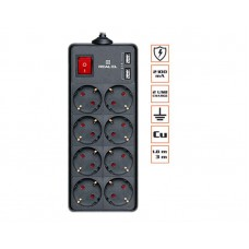 Сетевой фильтр REAL-EL RS-8 PROTECT 8 розеток 2USB 1.8m 16A Black