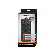 Сетевой фильтр REAL-EL RS-8 PROTECT 8 розеток 2USB 3m 16A Black