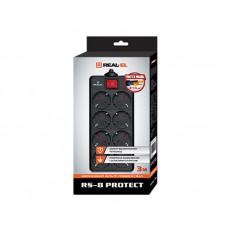 Сетевой фильтр REAL-EL RS-8 PROTECT 8 розеток 3m 16A Black