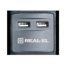 Сетевой фильтр REAL-EL RS-3 2USB CHARGE 3 розетки 1.8m 16A Black
