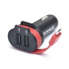 Зарядное устройство автомобильное REAL-EL CA-35 3USB 3.4A Black/Orange + cable USB-MicroUSB